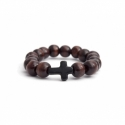 Dark Brown Wood Big Beads Bracelet For Woman With Black Cross