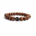 Light Brown Wood Big Beads Bracelet For Man With Skull