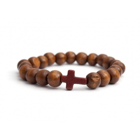 Light Brown Wood Big Beads Bracelet With Brown Cross