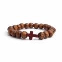 Light Brown Wood Big Beads Bracelet With Brown Cross