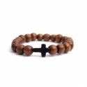 Light Brown Wood Big Beads Bracelet For Man With Black Cross