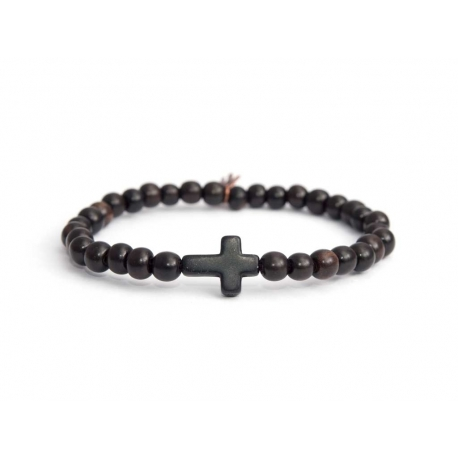 Dark Brown Wood Very Little Beads Bracelet For Man With Black Cross