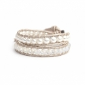 White Swarovski Pearls And Crystals Wrap Bracelet For Woman. White Beads Onto Pearl Leather