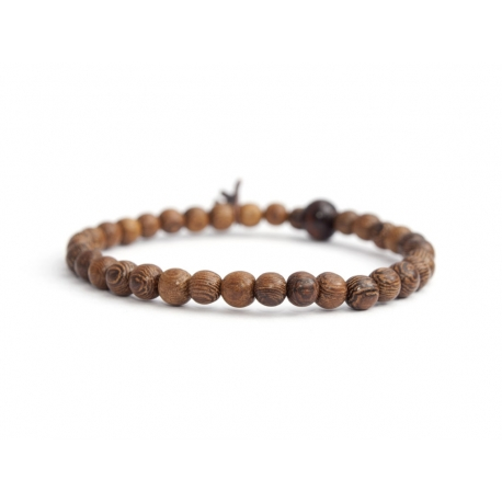 Brown Wood Very Little Beads Bracelet For Man