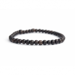 Dark Brown Wood Little Beads Bracelet For Man