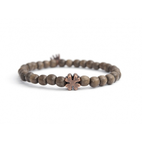 Grey Wood Very Little Beads Bracelet For Man With Quatrefoil