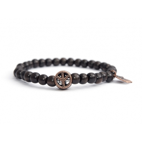 Dark Brown Wood Very Little Beads Bracelet For Man With Peace Symbol