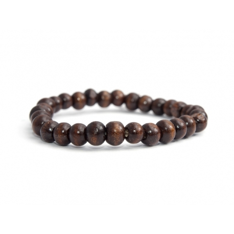 Dark Brown Wood Beads Bracelet For Man