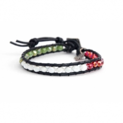Mix Colored Wrap Bracelet For Woman - Crystals Onto Marc Leather