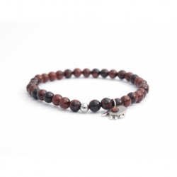Mahogany Obsidian Bead Bracelet For Man With Swarovski Strass And Steel Round Tag Charm