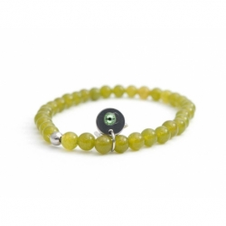 Peridoto Green Agate Bead Bracelet For Man With Swarovski Strass And Steel Round Tag Charm