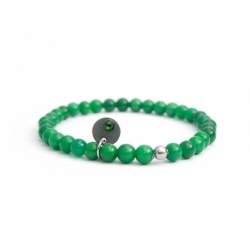 Aventurine Bead Bracelet For Man With Swarovski Strass And Steel Round Tag Charm