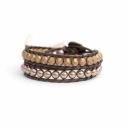 Almond Swarovski Pearls And Crystals Wrap Bracelet For Woman. Precious Beads Bronze Leather