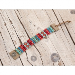 Blue Sky And Grey Beads Loom Bracelets For Woman