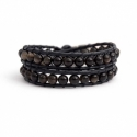 Gold Wrap Bracelet For Woman - Precious Stones Onto Caramel Leather