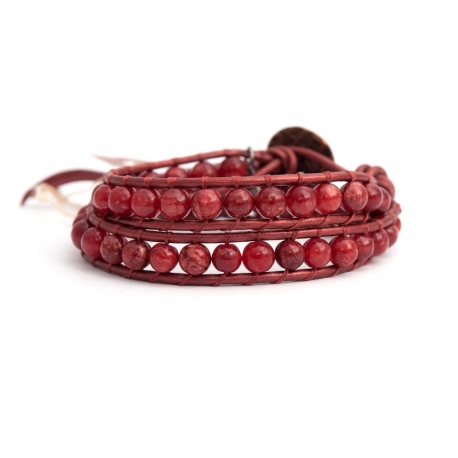 Red Wrap Bracelet For Woman - Precious Stones Onto Black Leather