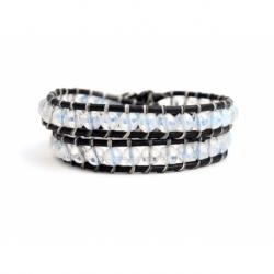 Wrap Bracelet For Woman - Precious Stones Onto Black Leather
