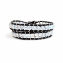 Wrap Bracelet For Woman - Precious Stones Onto Black Leather