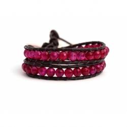 Fuchsia Wrap Bracelet For Woman - Precious Stones Onto Dark Brown Leather