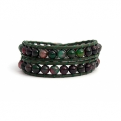 Green Wrap Bracelet For Woman - Precious Stones Onto Pink Leather
