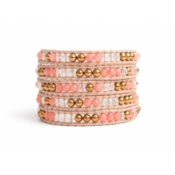 Mix Colored Wrap Bracelet For Woman - Precious Stones Onto Pink Leather