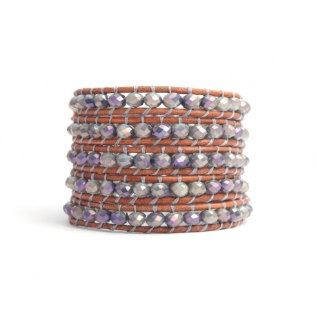 Grey Wrap Bracelet For Woman - Crystals Onto Dark Brown Leather