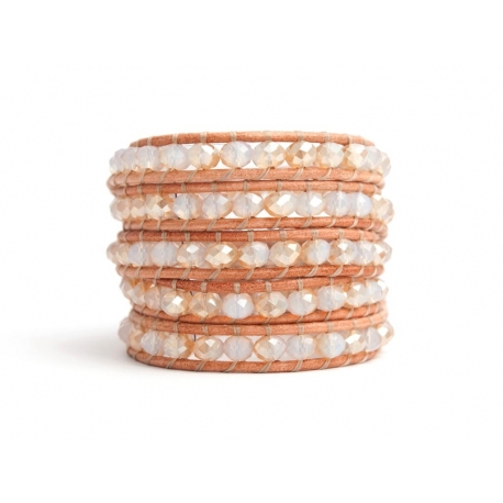 White Wrap Bracelet For Woman - Crystals Onto Natural Light Leather