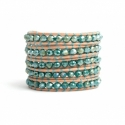 Green Wrap Bracelet For Woman - Crystals Onto Pearled White Leather