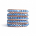 Blue Sky Wrap Bracelet For Woman - Crystals Onto Pearled White Leather