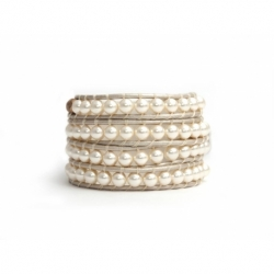 Cream Swarovski Wrap Bracelet For Woman. Elegance Onto A Pearl Leather