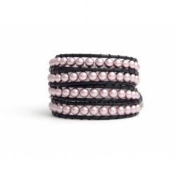 Rose Swarovski Pearls Wrap Bracelet For Woman. Switness And Character Onto Black Leather