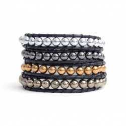 Mix Colored Wrap Bracelet For Woman - Precious Stones Onto Beige Leather