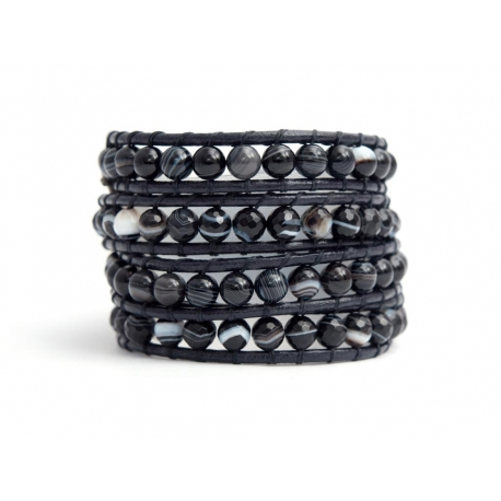 Black Wrap Bracelet For Woman - Precious Stones Onto Natural Dark Leather