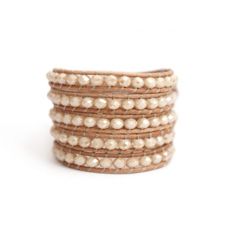 White Wrap Bracelet For Woman - Crystals Onto Natural Dark Leather