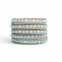 Blue Sky Wrap Bracelet For Woman - Crystals Onto Bronze Leather