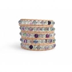 Rainbow Flourite Beaded Wrap Bracelet For Woman. Precious Stones Onto Natural Leather