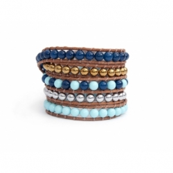 Mix Colored Wrap Bracelet For Woman - Precious Stones Onto Bronze Leather