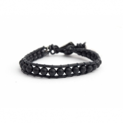 Black Onyx Wrap Bracelet For Man. Matte Onyx Onto Natural Dark Brown Leather