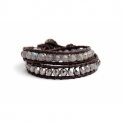White Wrap Bracelet For Woman - Precious Stones Onto Natural Light Leather
