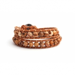 Brown Wrap Bracelet For Woman - Precious Stones Onto Mallow Leather