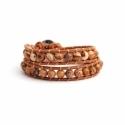 Brown Wrap Bracelet For Woman - Precious Stones Onto Mallow Leather