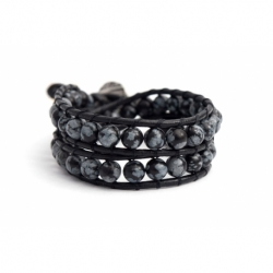Black Wrap Bracelet For Woman - Precious Stones Onto Hazelnut Leather