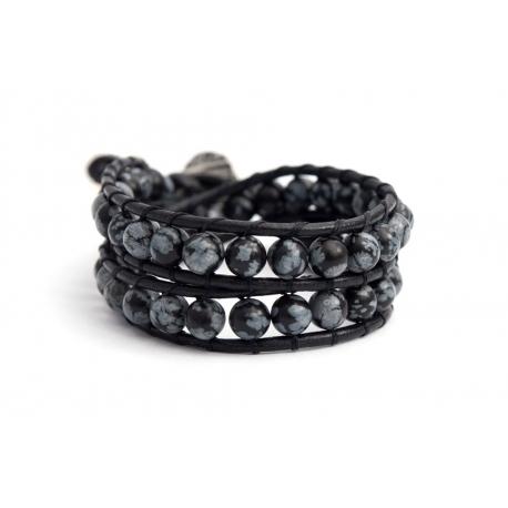 Black Wrap Bracelet For Woman - Precious Stones Onto Hazelnut Leather