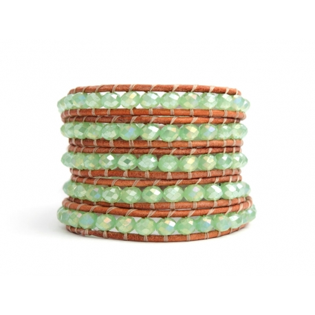 Green Wrap Bracelet For Woman - Crystals Onto Natural Dark Leather