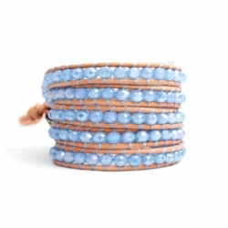 Blue Wrap Bracelet For Woman - Crystals Onto Pearl Leather