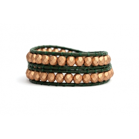 Gold Wrap Bracelet For Woman - Crystals Onto Pearl Leather