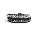 Black Wrap Bracelet For Woman - Precious Stones Onto Natural Light Leather