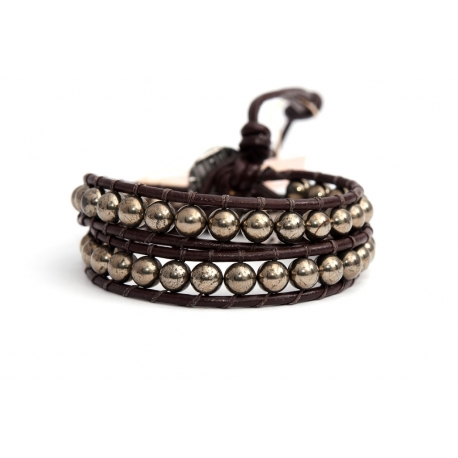 White Wrap Bracelet For Woman - Precious Stones Onto Dark Brown Leather