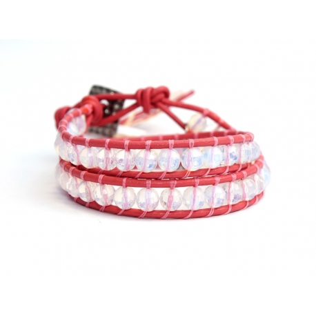 Pink Wrap Bracelet For Woman - Precious Stones Onto Natural Brown Leather