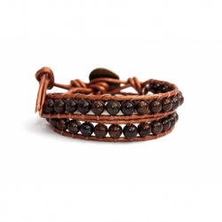 Brown Wrap Bracelet For Woman - Precious Stones Onto Blue Sky Leather